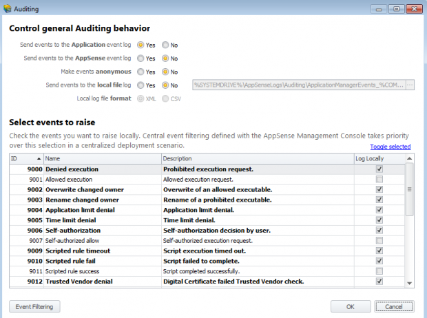 AppSense Auditing