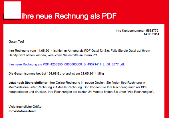 Trojaner Warnung: Telekom E-Mail Betreff: RechnungOnline Monat Mai 2014, Buchungskonto: 2962325641