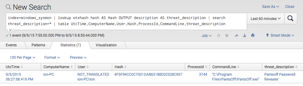 Threat Intel CSV Lookup in Splunk